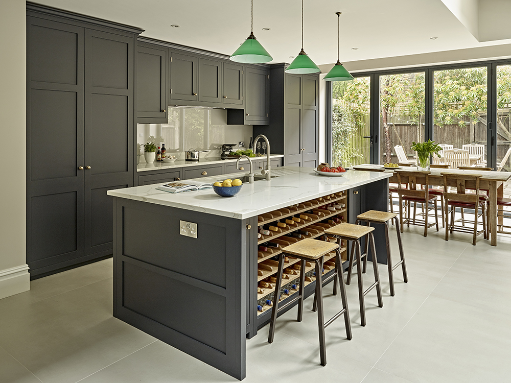 Brayer Bespoke Country Kitchen Design with Dark Grey Black Cabinets in Battersea
