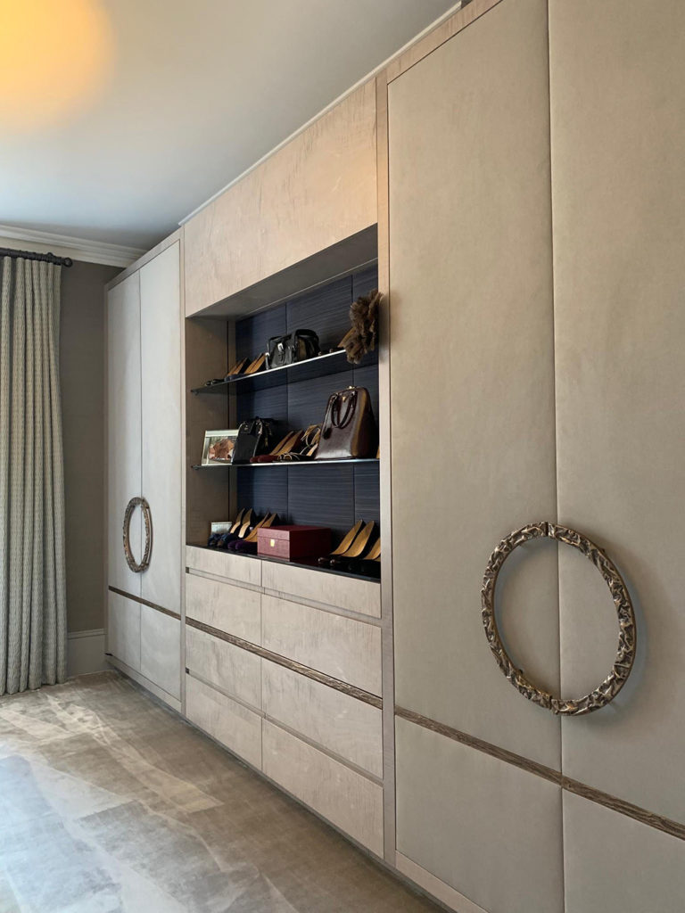 Fitted wardrobes, drawers and shoe display for a luxury dressing room