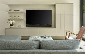 Grey modern media wall with display cabinet home renovation