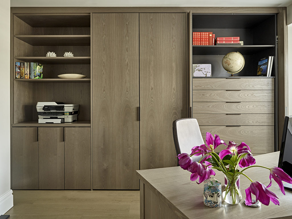Study/Home Office fitted furniture including storage cabinets and matching desk