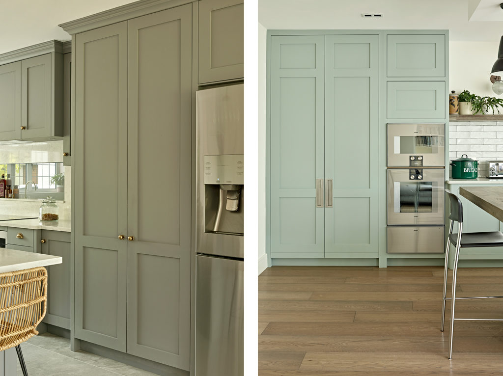 Comparison of painted kitchen cabinet colour choice - lead grey cabinets versus pale green