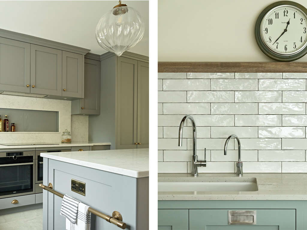 Comparison of lead grey classic shaker kitchen versus pale grey modern shaker design with tile splashback