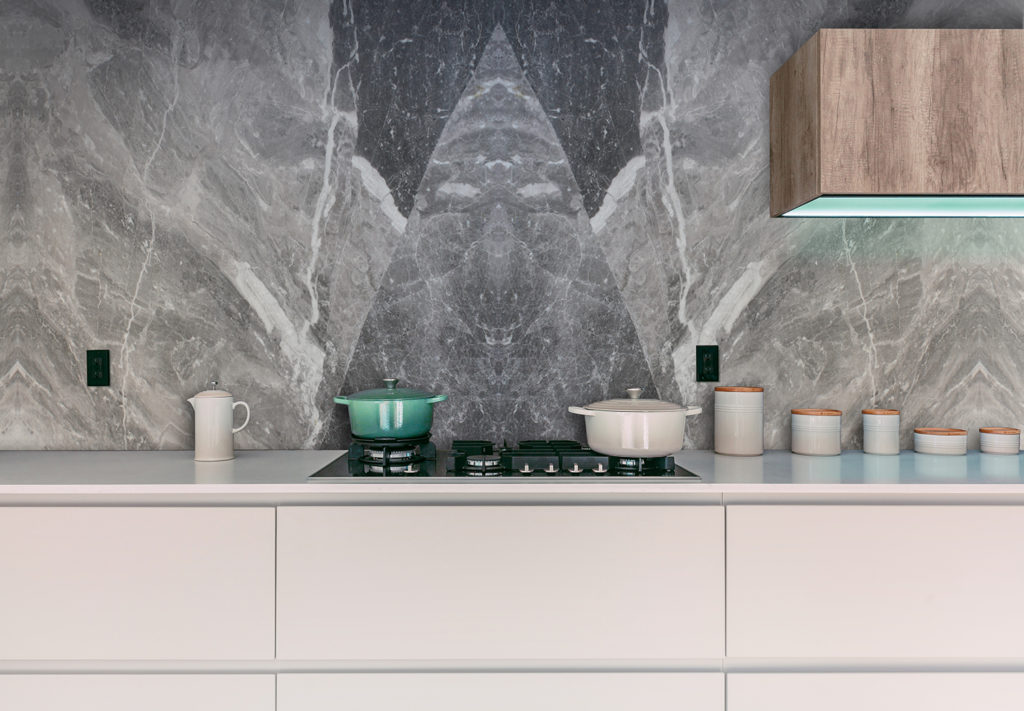 Bookmatched Kitchen Wall Splashback