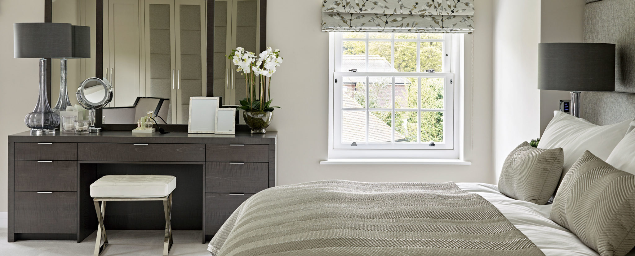 Brayer Luxury Bedroom Design Dressing Table and Fitted Wardrobes in Reflection of the Mirror
