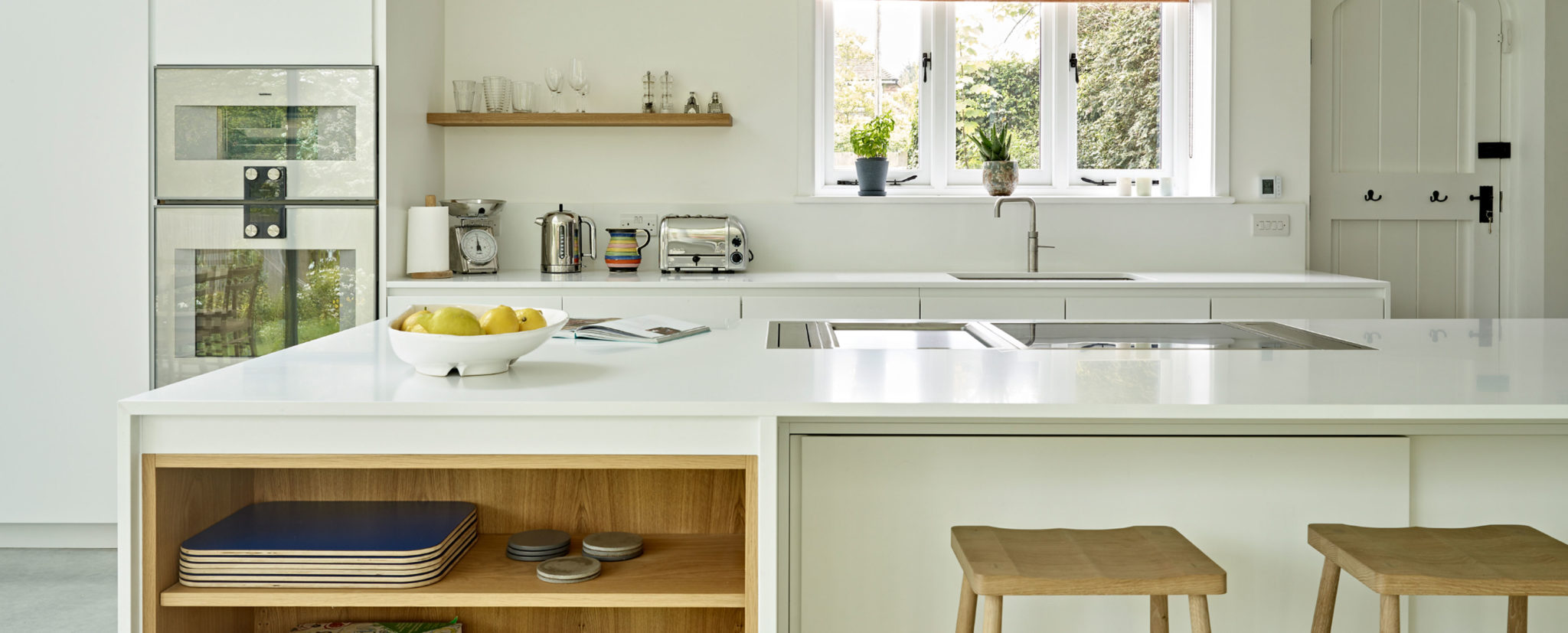 Minimalist scandi style white and light wood kitchen design