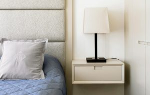 Blue, grey and white - Headboard, bedside table and wardrobe of minimalist, modern bedroom furniture design project