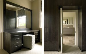 Luxury dressing table and fitted wardrobes in a dark wood finish