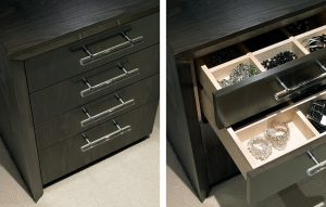 Custom made chest of drawers with dark wood finish - jewellery storage chest with built-in drawer organiser