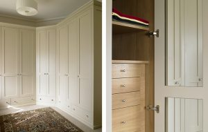 Corner fitted classic style wardrobes in cream. Natural oak interior with shallow drawer storage and mirror