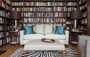 Bespoke bookcase design for home library in Surrey