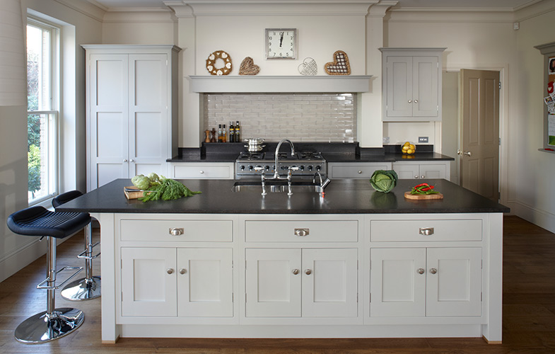 Esher country kitchen with large island and cream/grey shaker style cabinets