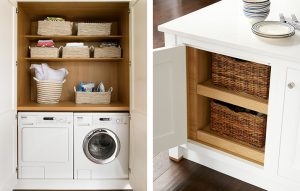 Laundry cupboard with washer and dryer and extra island storage with basket drawers.