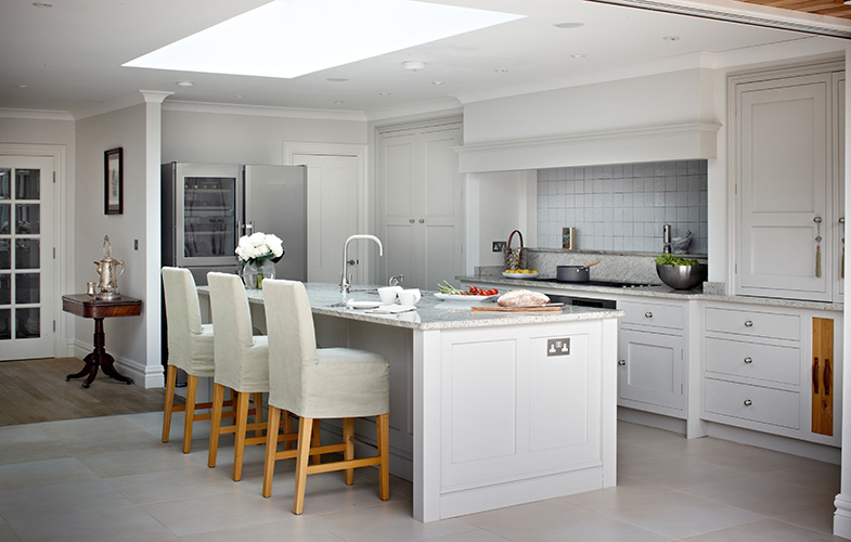 Surrey traditional light grey country kitchen with large island