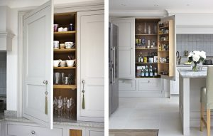 Surrey bespoke country kitchen cabinets and pantry cupboard handpainted in light grey with oak interiors
