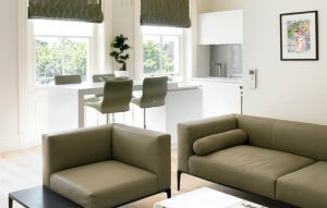 Brayer Design bespoke furniture for open-plan kitchen/living area Kensington