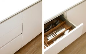Kensington minimalist handleless Kitchen drawers with oak interiors