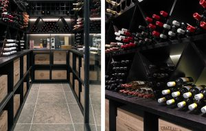 Wine room with dark finish wooden cabinetry in black and tiled floor. Temperature controlled with under cabinet lighting