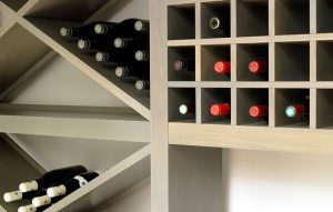 Bespoke wooden cube wine racks and display in light grey finish