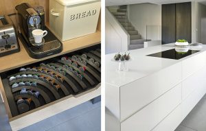 Breakfast cupboard interior and modern kitchen island with flush fitted hob.