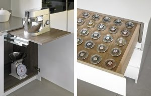 Automatic Mixer lift/extended worktop and spice drawer features of Wimbledon Kitchen