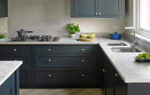 Esher Kitchen by Brayer Design with dark cabinets and brass hardware