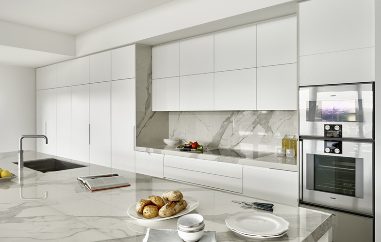 Laminam Staturio effect marble worktops and splashback for London Penthouse renovation