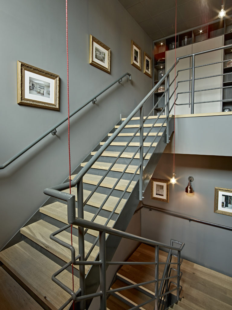 Staircase leading up to the Design Office/Showroom entrance above the Brayer warehouse