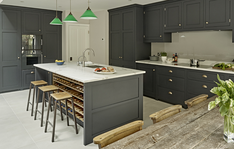 Battersea Country Kitchen Design with dark cabinets and light worktops