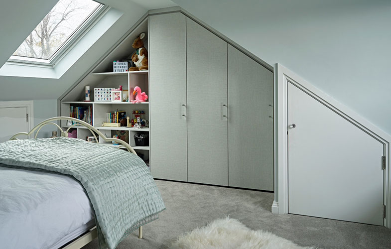 Fitted wardrobes for a girl's bedroom in a loft conversion for Wimbledon family home renovation