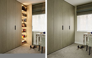 Full length dressing room wardrobes in quilted grey maple with handbag shelving and automatic lighting.