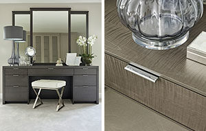 Large dressing table with triple mirror for Luxury Master Bedroom and close up of grey dyed rippled sycamore finish.