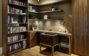 Retro 50s style home office with custom-made desk, shelving, bookcase, chair and cabinet.