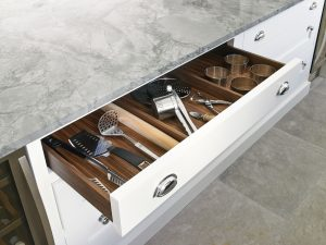 Kitchen Island long utensils drawer for bespoke traditional white country kitchen