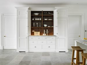 Large white country kitchen dresser with walnut interior