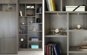 Bespoke bookcase and display cabinet with lighting for Chelsea penthouse apartment