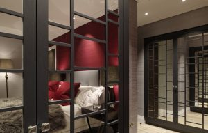 Bespoke Bedroom furniture - Oriental style mirrored wardrobes with dark wood finish for bedroom of Chelsea Penthouse project