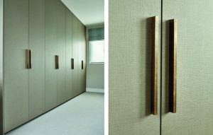 Full length vintage modern fitted wooden wardrobes with close up on long thin minimalist oak handles / pulls