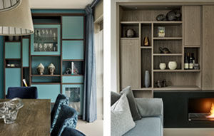 Oriental style turqoise display cabinets for dining room next to minimalist AV Cabinet display furniture in dyed grey ash.