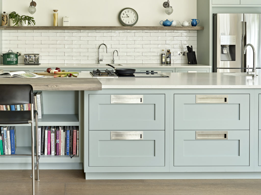 Modern shaker kitchen with large island and contemporary inset handles