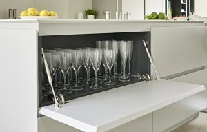 Modern Kitchen Island drop-down cabinet glass storage