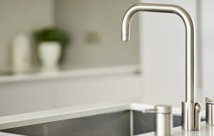 Island integrated Blanco sink with an Odobe boiling tap for modern Wimbledon Kitchen