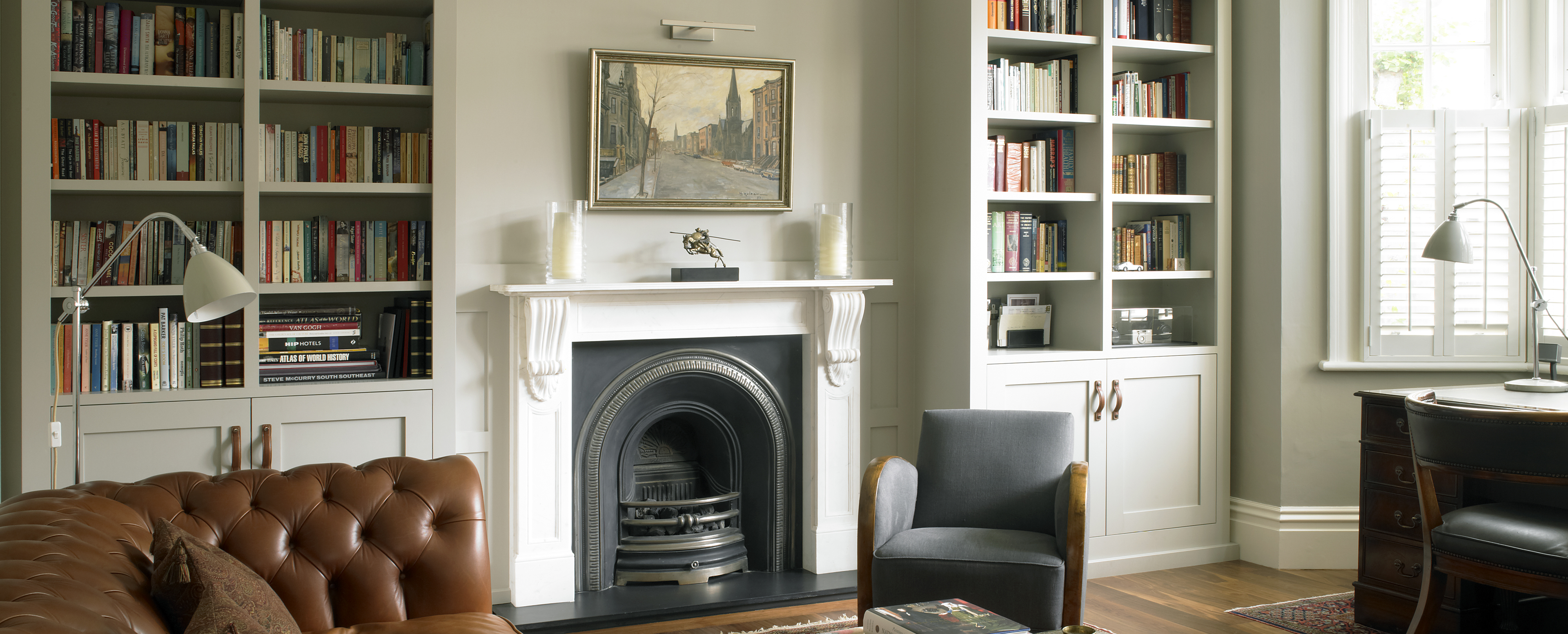 Bespoke furniture by Brayer - Fitted cabinets and wall panelling for traditional Edwardian study and living area