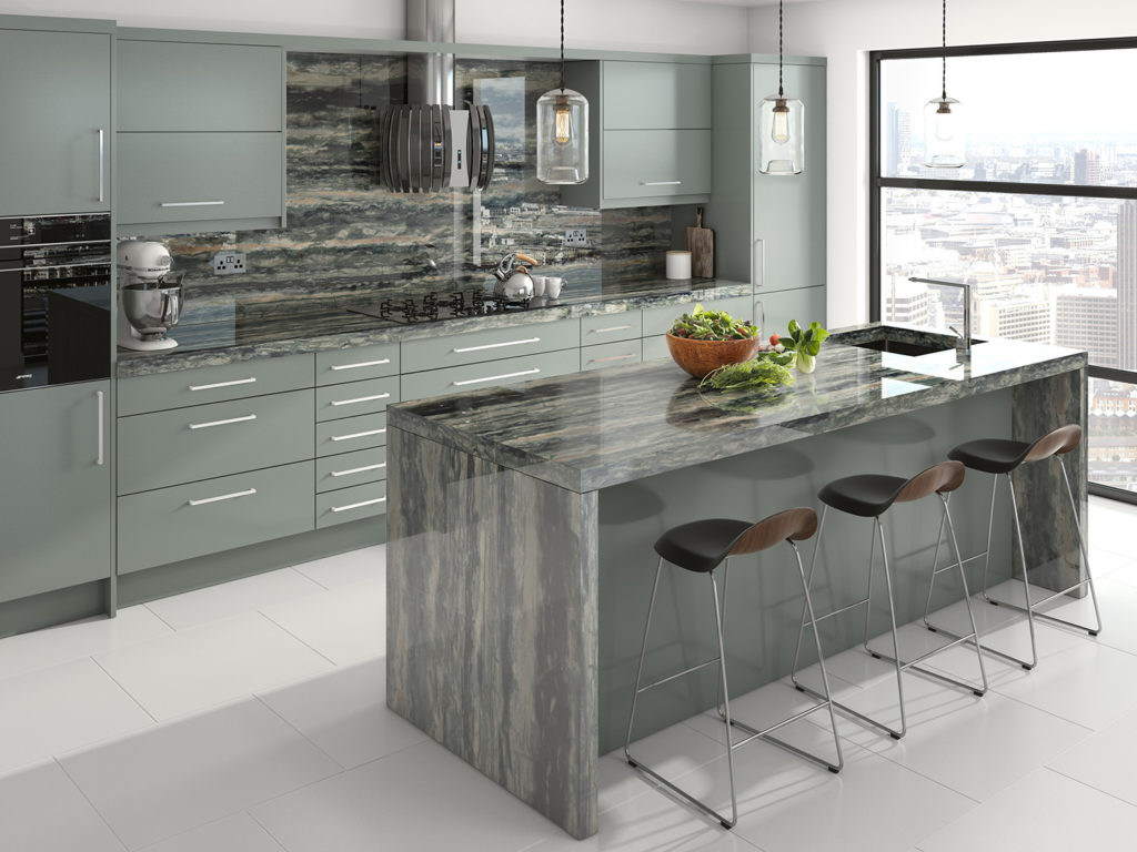 Modern kitchen with Verde Bamboo marble waterfall island and splashback