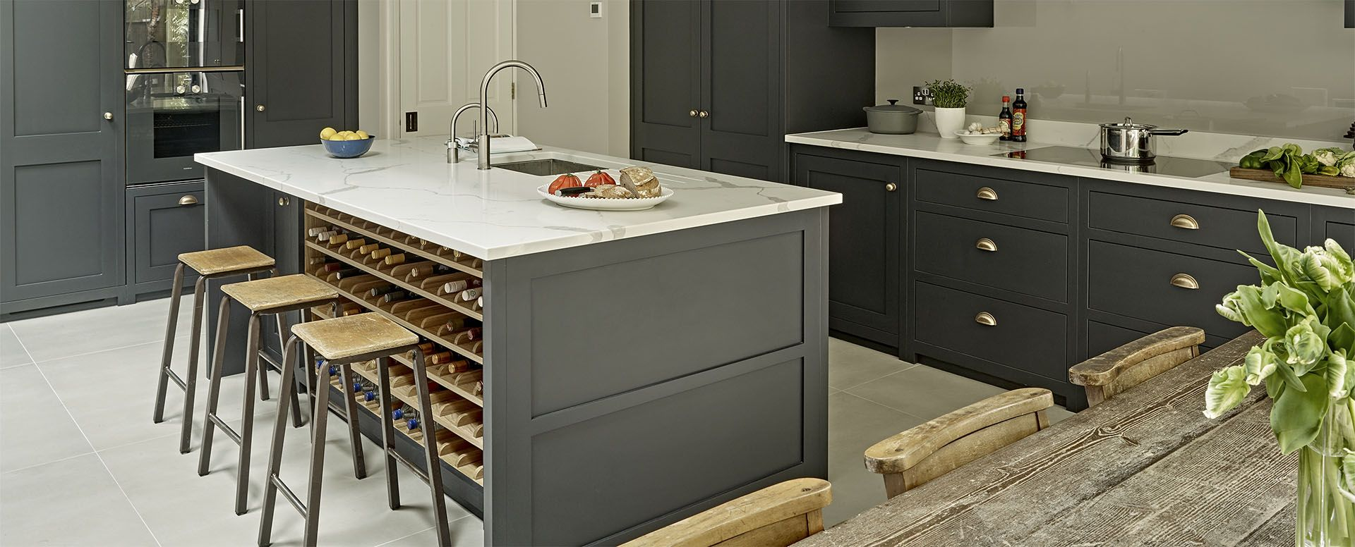 Bespoke dark country kitchen in Battersea - Grey black cabinets and large kitchen island