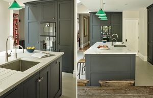 Shaker style Battersea dark kitchen island with integrated sink