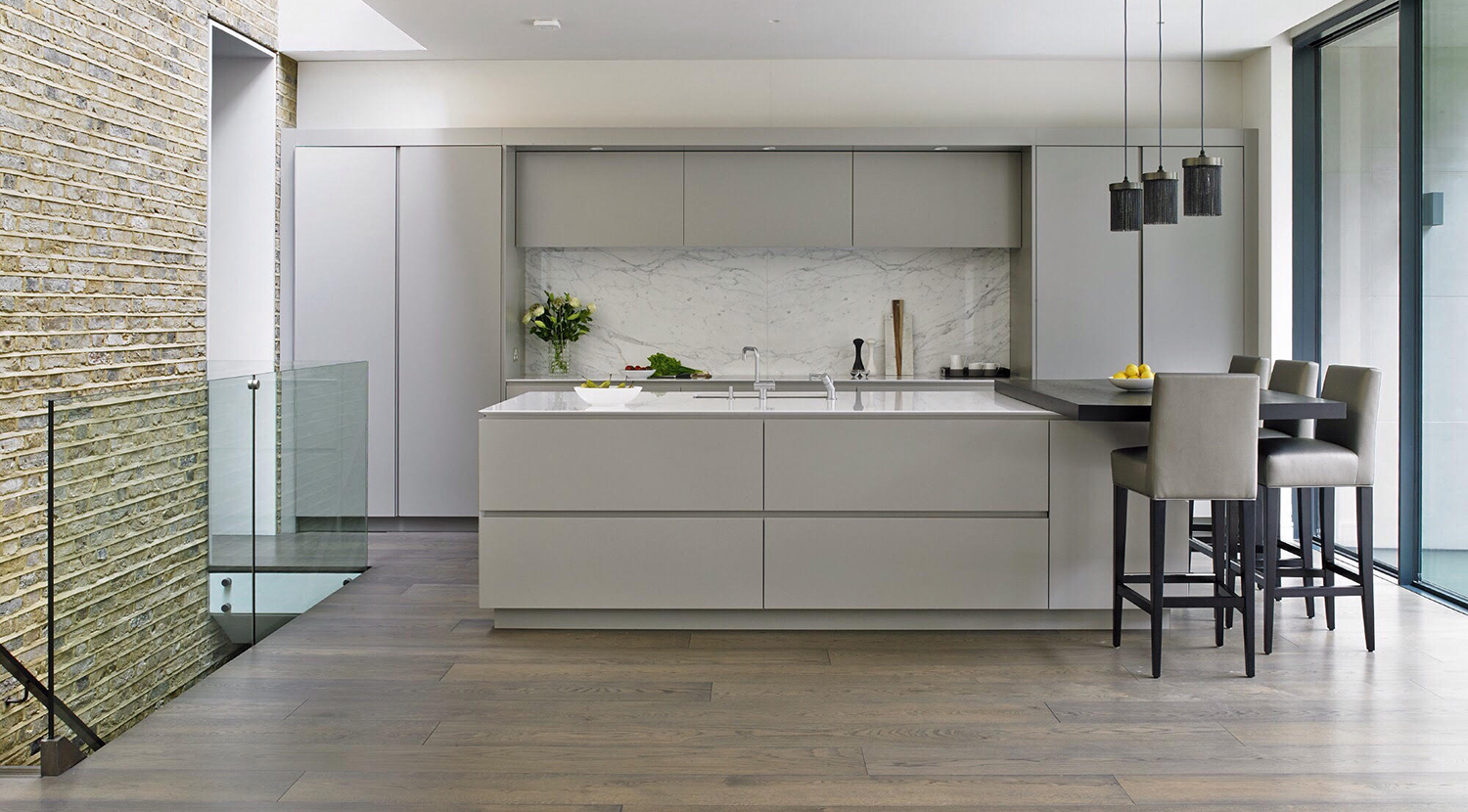 Grey modern handleless kitchen for a Wandsworth home