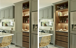 Lead grey kingswood pantry / breakfast cabinet with pocket doors, walnut interiors and automatic lighting
