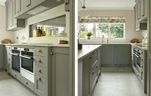 Kitchen cabinets in lead grey with burnished brass hardware for Kingswood kitchen