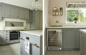 Grey shaker kitchen cabinets for Kingswood Kitchen with integrated appliances and wine fridge.