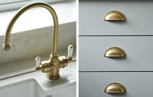 Design details for Kingswood kitchen: traditional style brass tap and grey drawers with brass cup handles